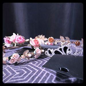 Rhinestone tiara, rose flower headbands, gold/pink